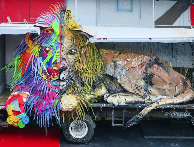 """""""Half Lion,"""" shown here in an image from Bordalo II's Facebook page, will be part of """"Wild Wild Waste,"""" his exhibition at this weekend's Life is Beautiful Music & Art Festival."""