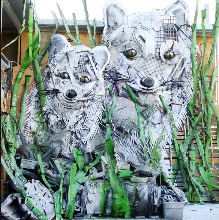 """Bordalo II created """"Snow Foxes,"""" below, which is to be part of his exhibition at this weekend's event."""