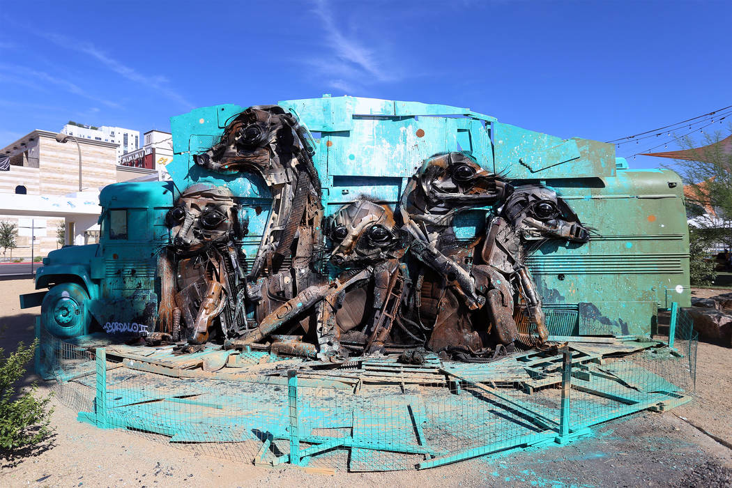 """Bordalo II created """"Meerkats"""" for the 2015 edition of the Life is Beautiful Music & Art Festival. His Facebook page features an image of """"Snow Foxes,"""" below, which is to be part of his exh ..."""