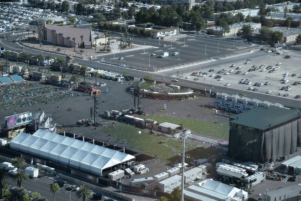 The Route 91 Harvest Festival grounds on Oct. 2, 2017, taken by FBI staff from a Mandalay Bay suite on the Las Vegas Strip. (source: FBI)