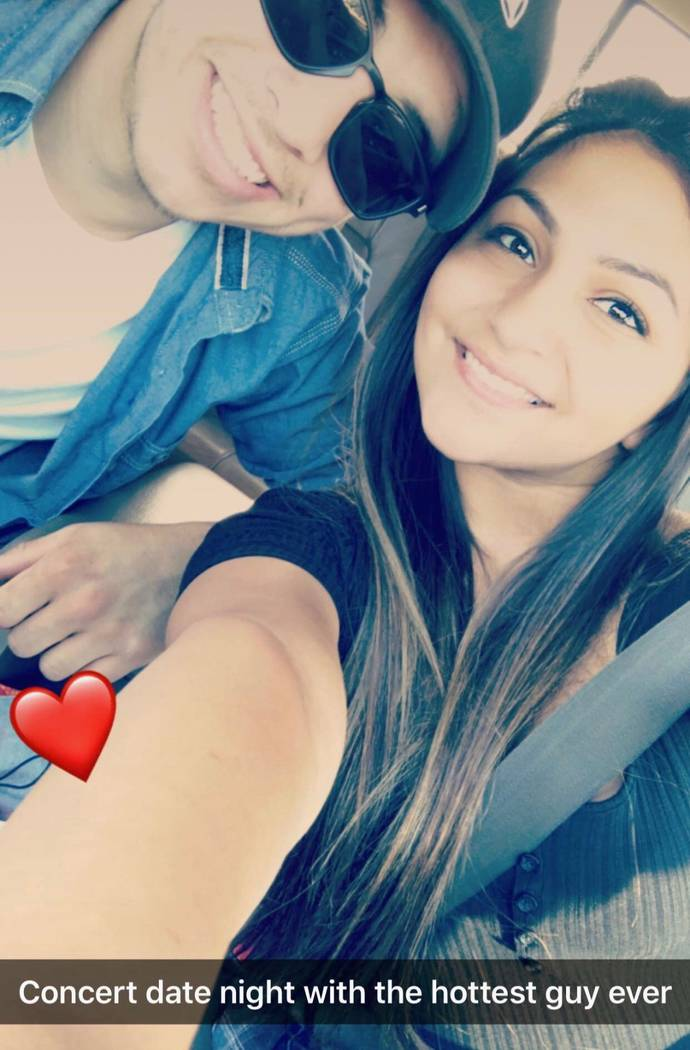 Angela Gomez, 20, with her boyfriend Ethan Sanchez, now 20 at a concert in July 2017. Gomez was one of 58 people killed in the Route 91 Harvest Festival shooting on Oct. 1, 2017. (Gomez family)