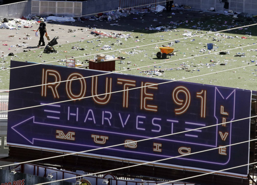 Investigators work the scene after the mass shooting at the Route 91 Harvest music festival on the Las Vegas Strip on Oct. 1, 2017. (Chris Carlson/AP, File)