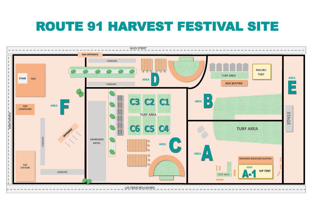 The FBI created this map of the Route 91 Harvest Festival site, sectioned into six quadrants, to assist victims of the Oct. 1, 2017 shooting. The map helped the FBI gather, organize and return the ...