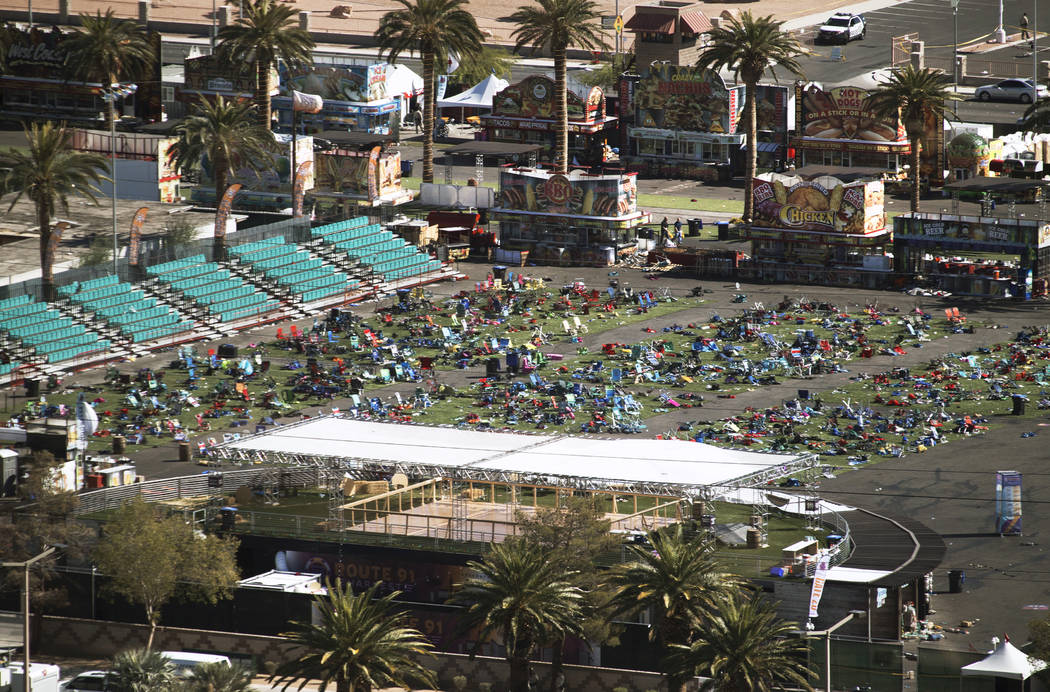 The concert grounds on the day after the Route 91 Harvest Festival shooting in Las Vegas, Oct. 2, 2017. (Richard Brian/Las Vegas Review-Journal) @VegasPhotograph