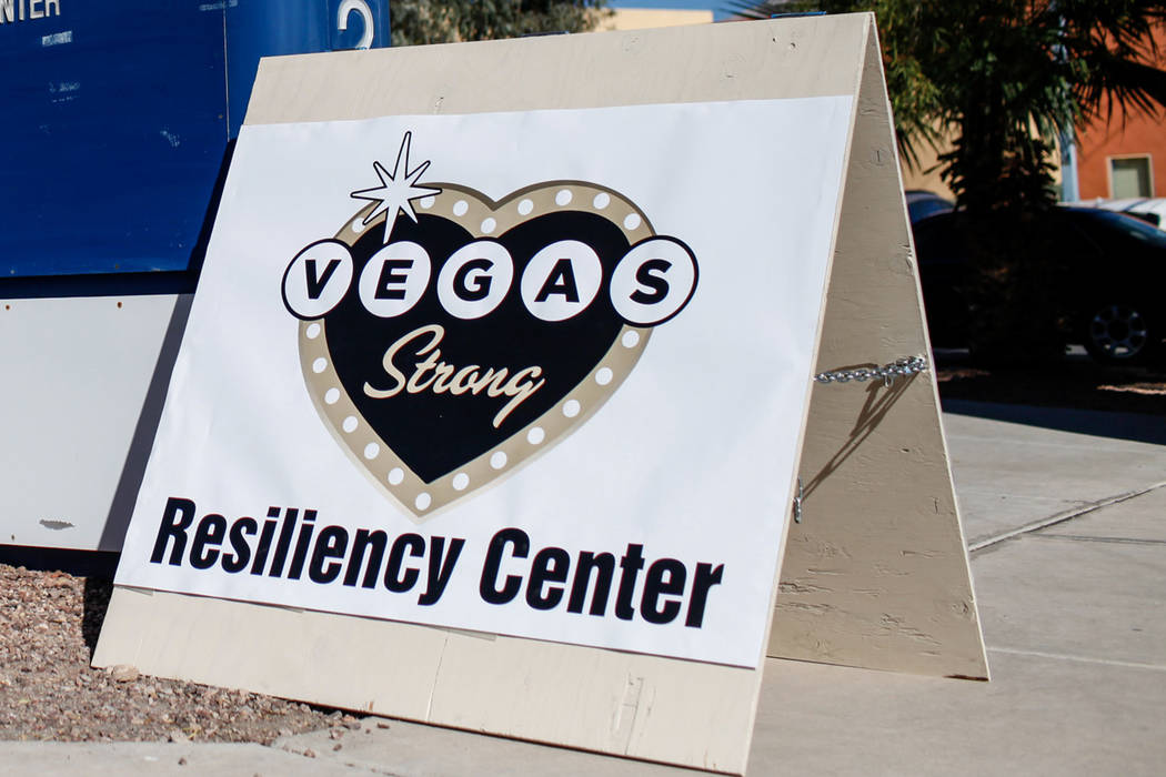 Asign for the Vegas Strong Resiliency Center is seen on Monday, Oct. 23, 2017 in Las Vegas. The center is now located at 2200 S. Rancho Drive, Suite 210-A. Joel Angel Juarez Las Vegas Review-Journ ...