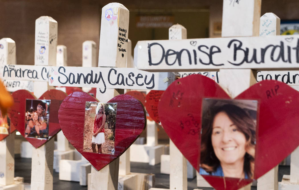 Crosses that were put up at the Welcome to Las Vegas sign photographed on exhibit inside the Clark County Government Center in Las Vegas, Monday, Sept. 17, 2018. The exhibit is part of the 1 Octob ...