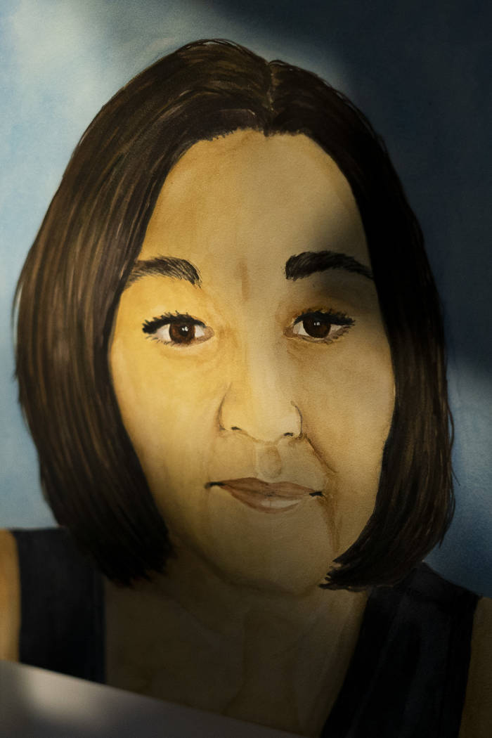 A portrait of a victim from the October 1 shooting on display as part of the Las Vegas Portraits Project at the Clark County Government Center in Las Vegas, Monday, Sept. 17, 2018. The exhibit is ...