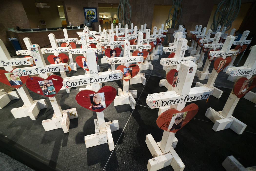 Crosses that were previously put up at the Welcome to Las Vegas sign photographed on exhibit inside the Clark County Government Center in Las Vegas, Monday, Sept. 17, 2018. The exhibit is part of ...
