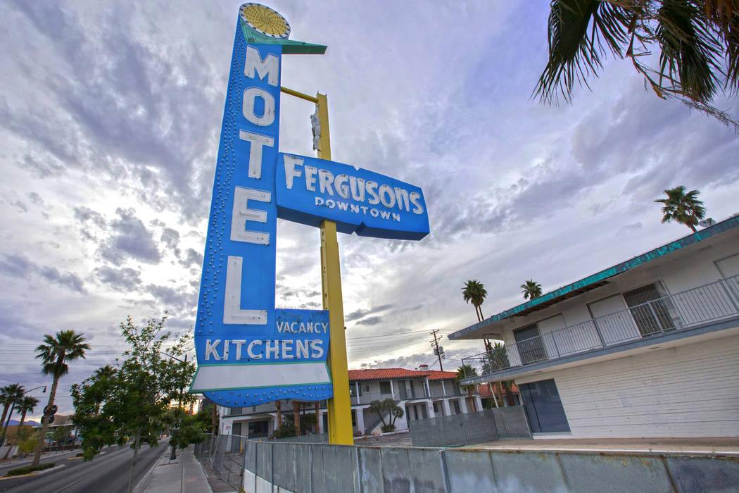 Fergusons Motel, 1028 E. Fremont St. is becoming Fergusons Downtown, a mixed-use campus by a subsidiary of Tony Hsiesh's Downtown Project. (Benjamin Hager/Las Vegas Review-Journal) @benjaminhphoto