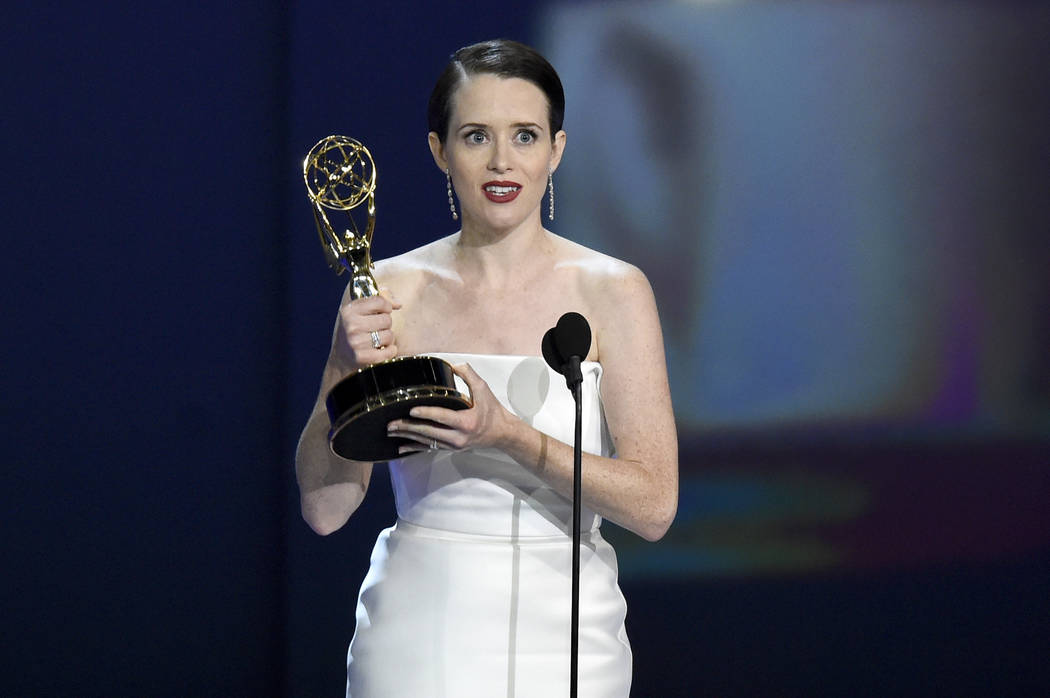 """Claire Foy accepts the award for outstanding lead actress in a drama series for """"The Crown"""" at the 70th Primetime Emmy Awards on Monday, Sept. 17, 2018, at the Microsoft Theater in Los A ..."""
