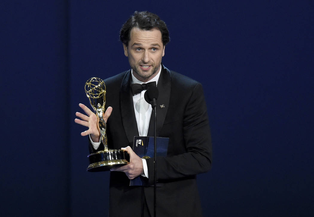 """Matthew Rhys accepts the award for outstanding lead actor in a drama series for """"The Americans"""" at the 70th Primetime Emmy Awards on Monday, Sept. 17, 2018, at the Microsoft Theater in L ..."""