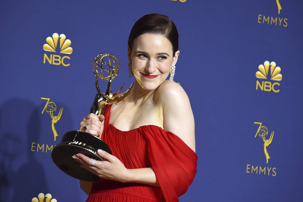 """Rachel Brosnahan winner of the award for outstanding lead actress in a comedy series for """"The Marvelous Mrs. Maisel"""" poses in the press room at the 70th Primetime Emmy Awards on Monday, ..."""