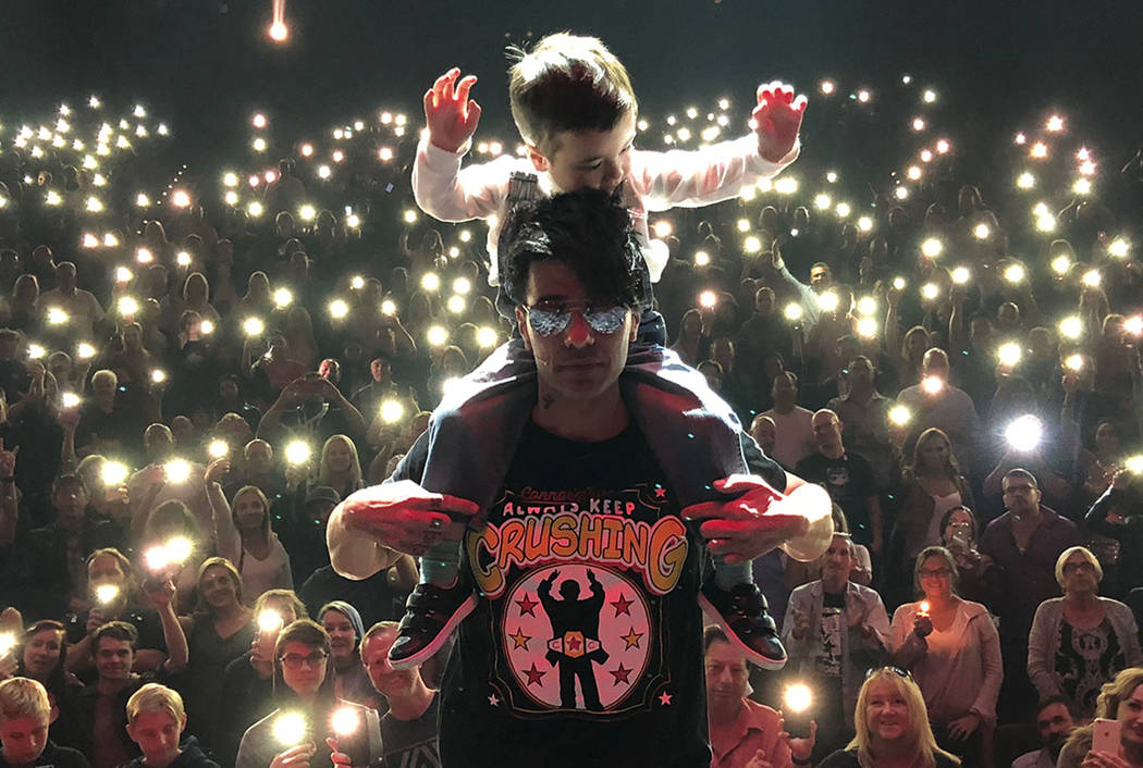 Criss Angel is shown with his son, Johnny Crisstopher, at Luxor on Sept. 18, 2017. (Tom Rutan)