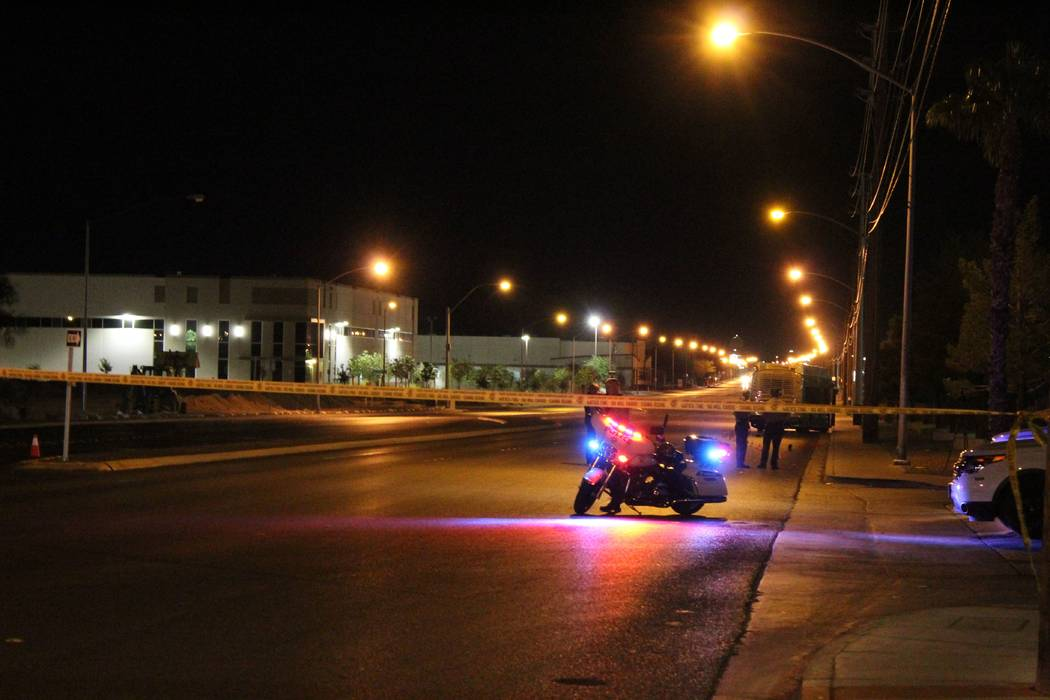Las Vegas police block off eastbound Craig Road east of Lamb Boulevard after a pedestrian was hit by a bus Monday night, Sept. 17, 2018. (Max Michor/Review-Journal)