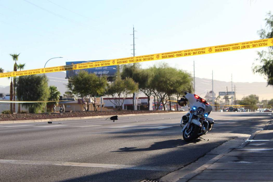 Las Vegas police investigate a fatal crash involving a pedestrian on Sahara Avenue just east of Maryland Parkway, Tuesday, Sept. 18, 2018. (Max Michor/Las Vegas Review-Journal)