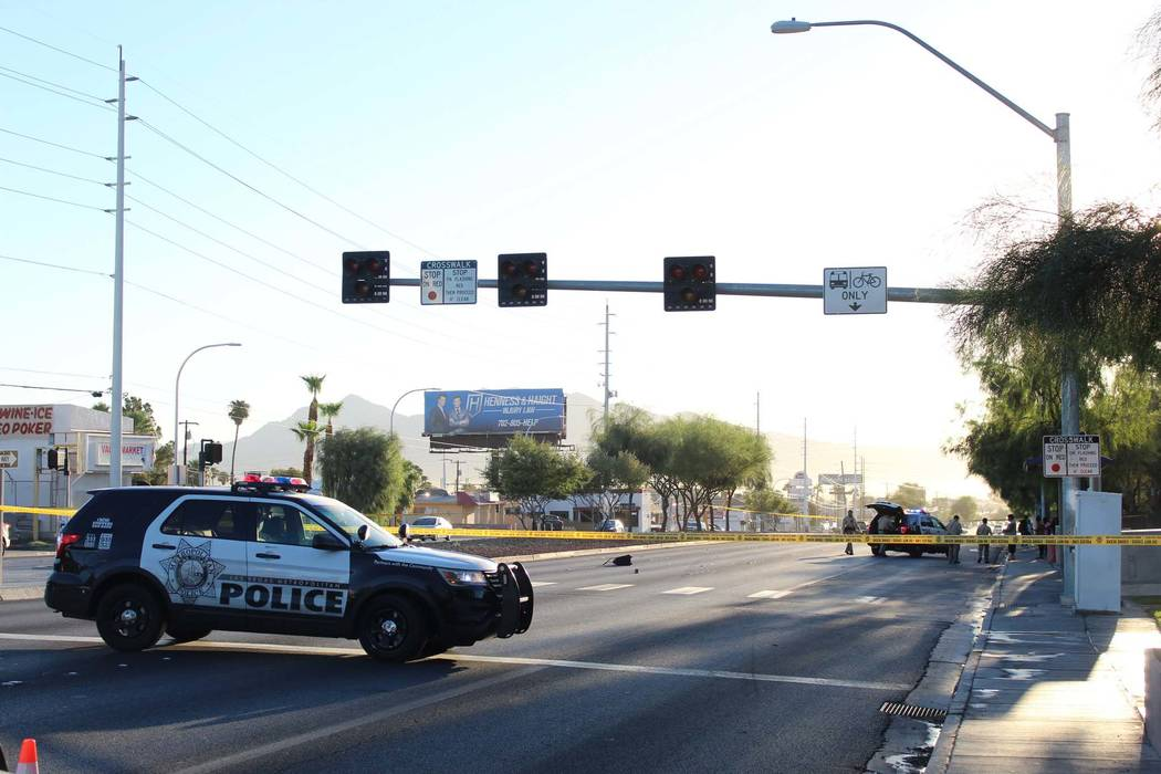 Las Vegas police have closed eastbound Sahara Avenue just east of Maryland Parkway while they investigate a crash, Tuesday, Sept. 18, 2018. (Max Michor/Las Vegas Review-Journal)