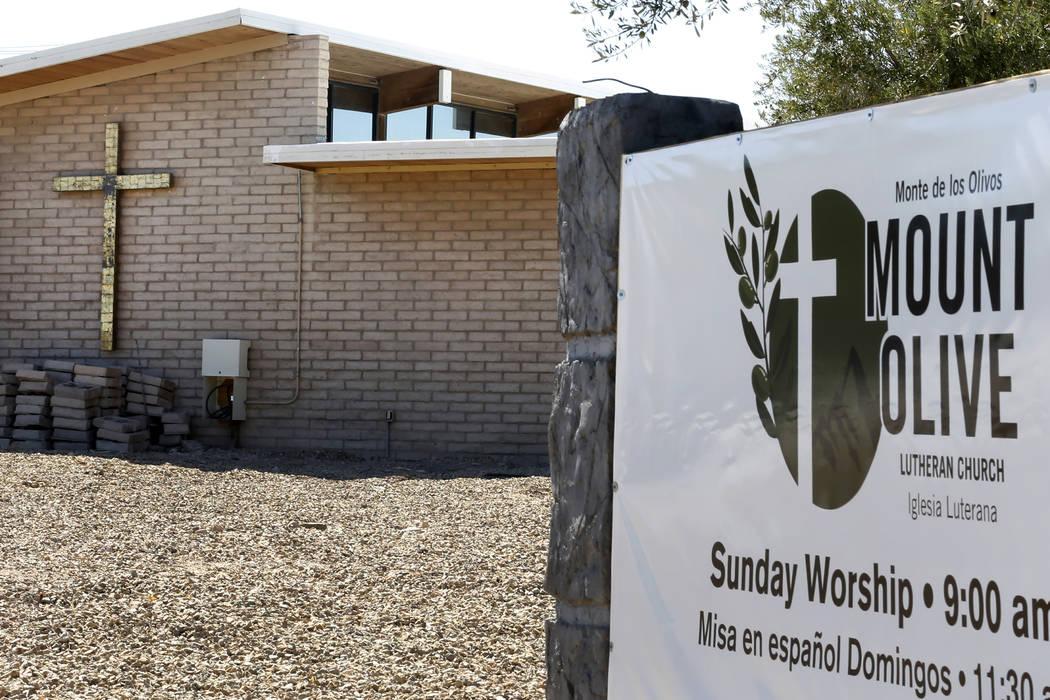 Mount Olive Lutheran Church at 3975 S Sandhill Road photographed on Tuesday, Sept. 18, 2018, in Las Vegas. (Bizuayehu Tesfaye/Las Vegas Review-Journal) @bizutesfaye