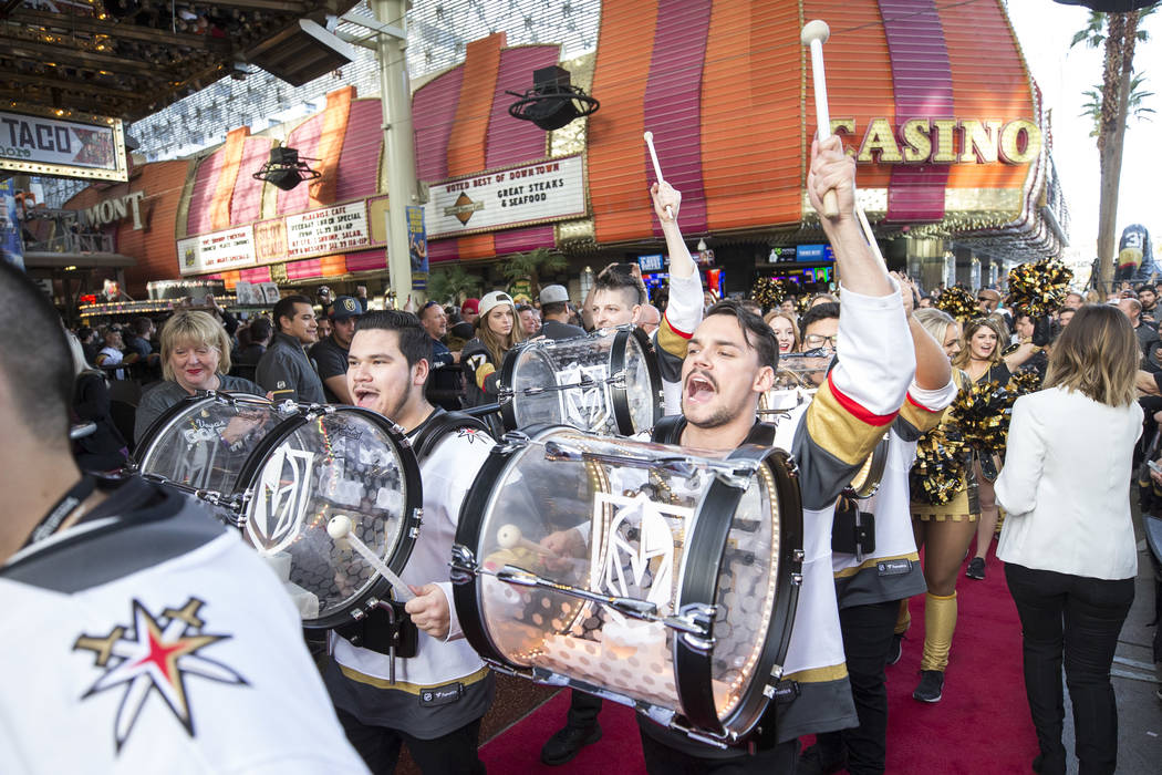 The Knight Line arrives during the Vegas Golden Knights first fan fest at the Fremont Street Experience in downtown Las Vegas on Sunday, Jan. 14, 2018. Richard Brian Las Vegas Review-Journal @vega ...