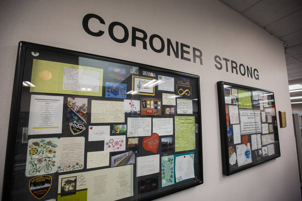 Display cases highlight letters and other messages of support at the Clark County coroner's office near downtown Las Vegas on Thursday, Sept. 13, 2018. Chase Stevens Las Vegas Review-Journal @csst ...