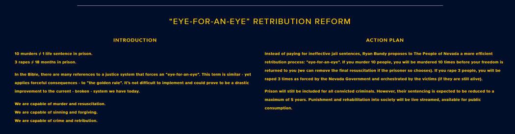 Screenshot from campaign website for Nevada gubernatorial candidate Ryan Bundy