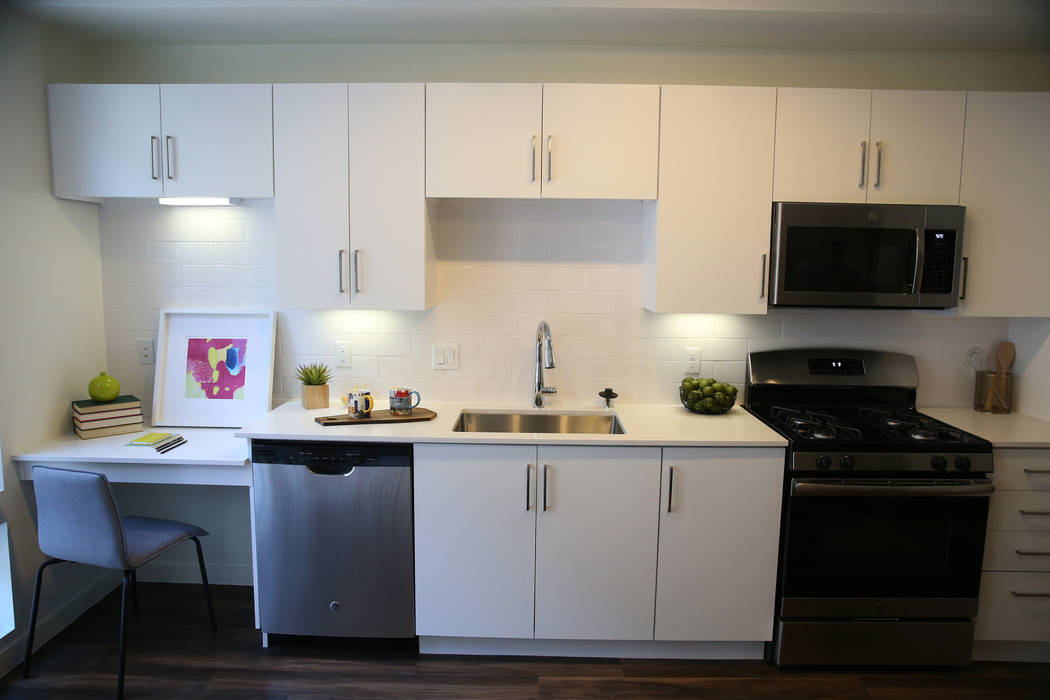 A studio kitchen at Fremont9, a new apartment complex in downtown Las Vegas at Fremont and 9th Street in Las Vegas, Tuesday, Sept. 18, 2018. Erik Verduzco Las Vegas Review-Journal @Erik_Verduzco