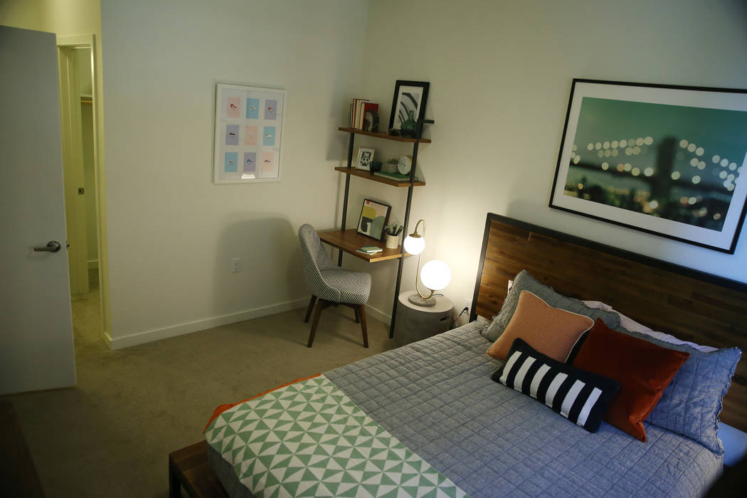 A bedroom in a two bedroom apartment at Fremont9, a new apartment complex in downtown Las Vegas at Fremont and 9th Street in Las Vegas, Tuesday, Sept. 18, 2018. Erik Verduzco Las Vegas Review-Jour ...