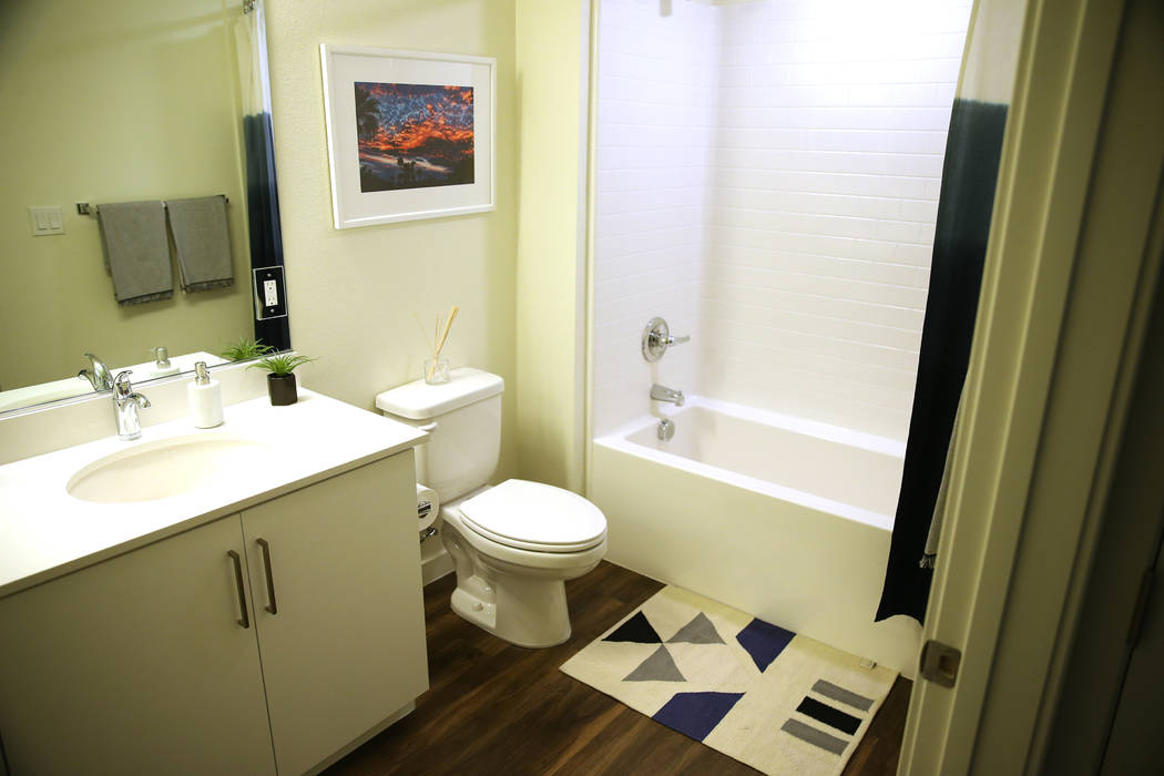 A bathroom in a two bedroom apartment at Fremont9, a new apartment complex in downtown Las Vegas at Fremont and 9th Street in Las Vegas, Tuesday, Sept. 18, 2018. Erik Verduzco Las Vegas Review-Jou ...