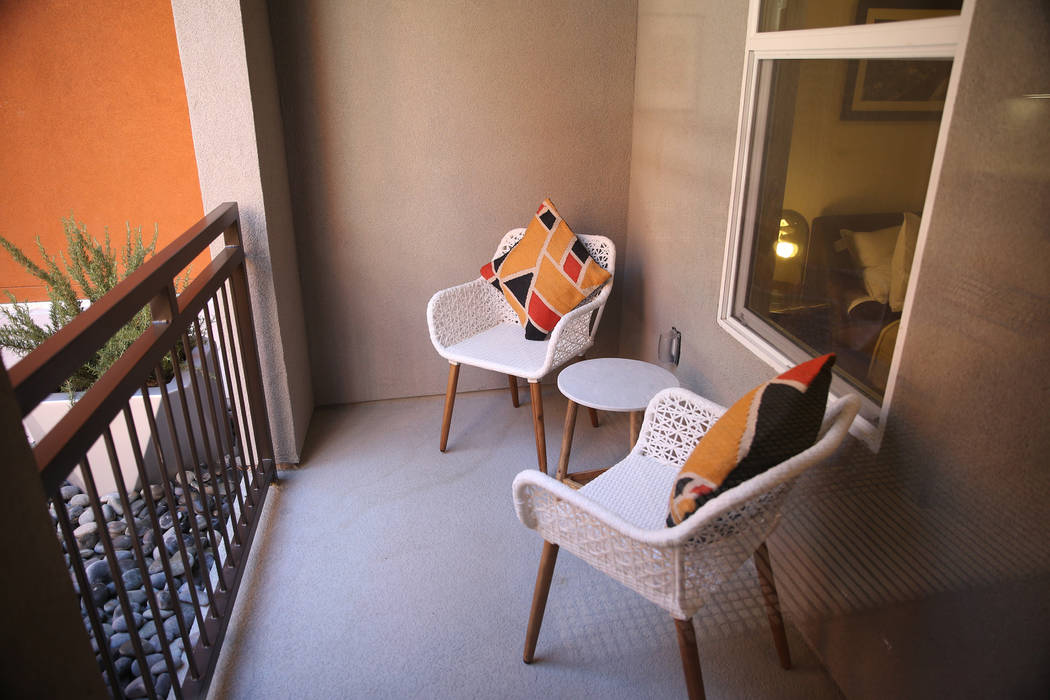 The patio of a two bedroom apartment at Fremont9, a new apartment complex in downtown Las Vegas at Fremont and 9th Street in Las Vegas, Tuesday, Sept. 18, 2018. Erik Verduzco Las Vegas Review-Jour ...
