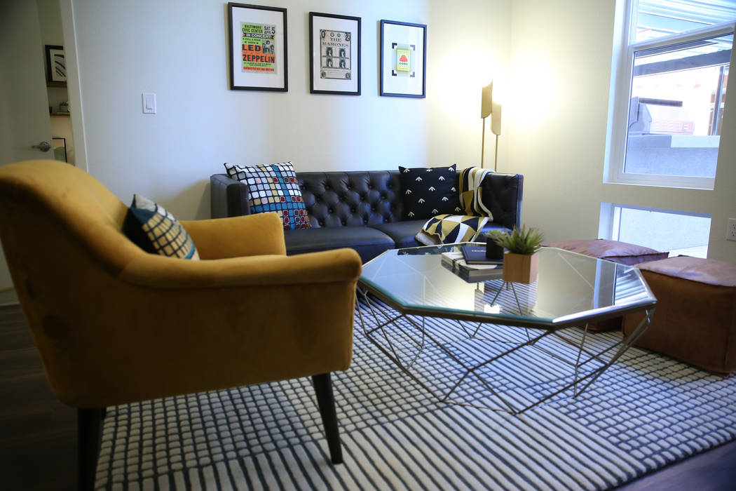 The living room of a two bedroom apartment at Fremont9, a new apartment complex in downtown Las Vegas at Fremont and 9th Street in Las Vegas, Tuesday, Sept. 18, 2018. Erik Verduzco Las Vegas Revie ...