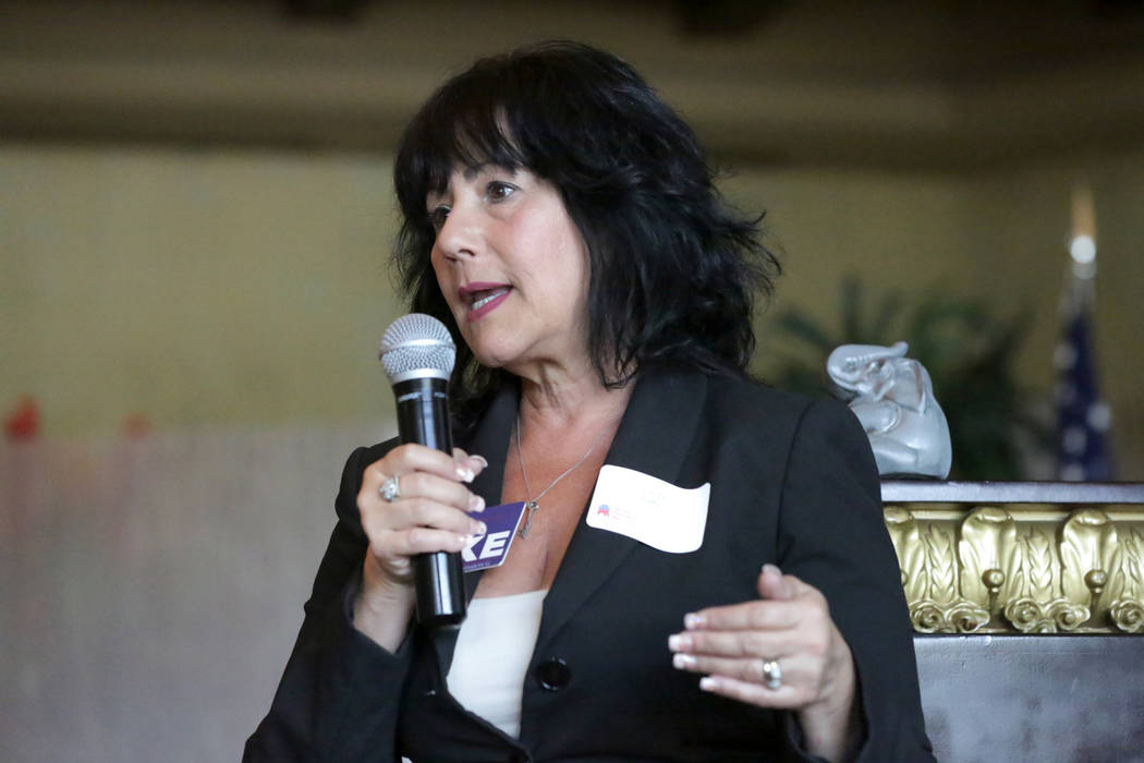 Cindy Lake, candidate for Clark County Commissioner District G, speaks to attendees of the Nevada Republican Men's Club luncheon at the Bali Hai Golf Club on Tuesday, September 4, 2018. Mic ...