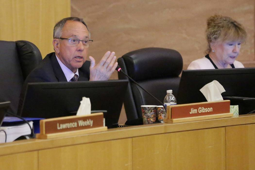 Clark County Commissioner Jim Gibson speaks during a county commission on Tuesday, June 19, 2018. (Michael Quine/Las Vegas Review-Journal) @Vegas88s