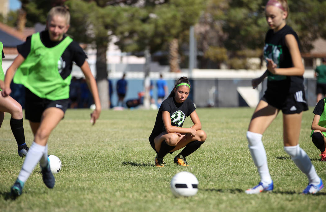 Green Valley's Taylor O'Neill, 17, watches her teammates as they do a drill during a team practice at Green Valley High School in Henderson, Tuesday, Sept. 18, 2018. Caroline Brehman/Las Vegas Rev ...