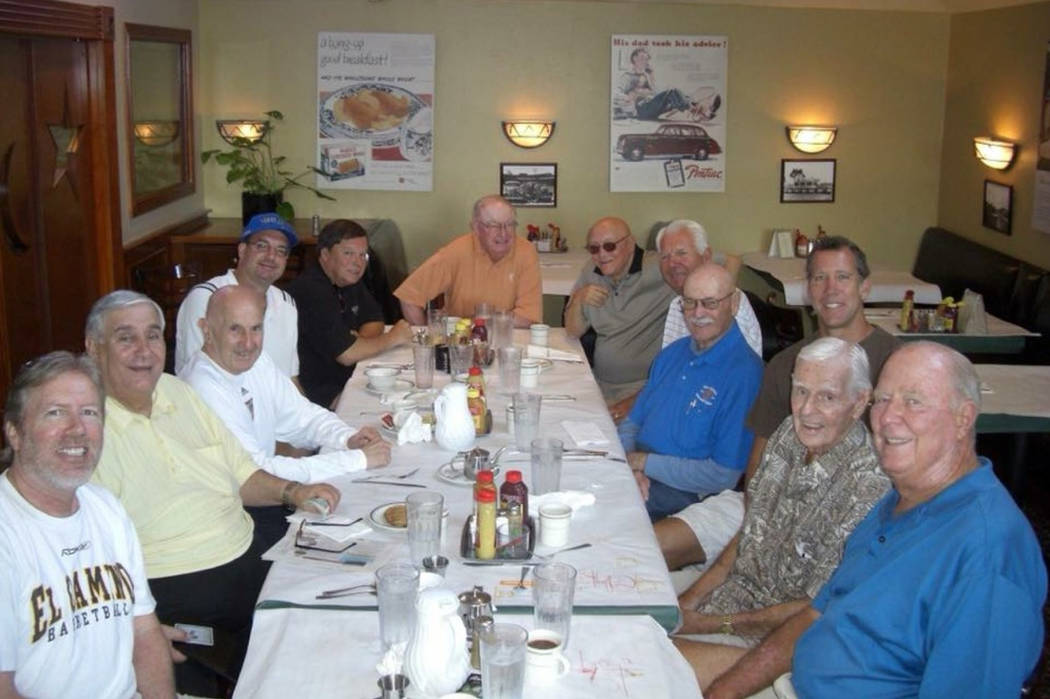 Dan Ayala (yellow shirt, second from left) was a regular at the coaches' breakfast at Milton's in Del Mar, California, during summertime horse racing meetings. Also pictured are Jerry Tarkanian (b ...