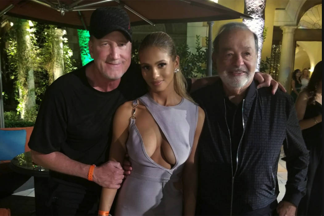 """R.J. """"Robin Hood 702"""" Cipriani; his wife, Greice Santo; and Greice Santo are shown at The Mansion at MGM Grand on Saturday, Sept. 15, 2018. (R.J. """"Robin Hood 702"""" Cipriani)"""