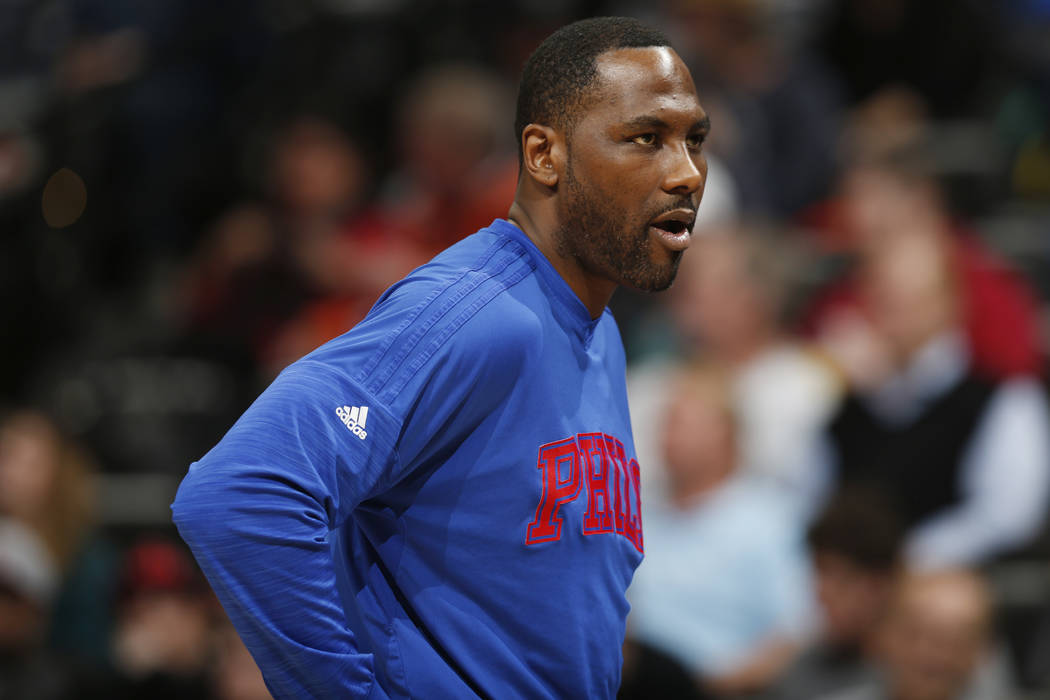 In this March 23, 2016, file photo, Philadelphia 76ers forward Elton Brand stands during the second half of the team's NBA basketball game against the Denver Nuggets in Denver. (AP Photo/David Zal ...