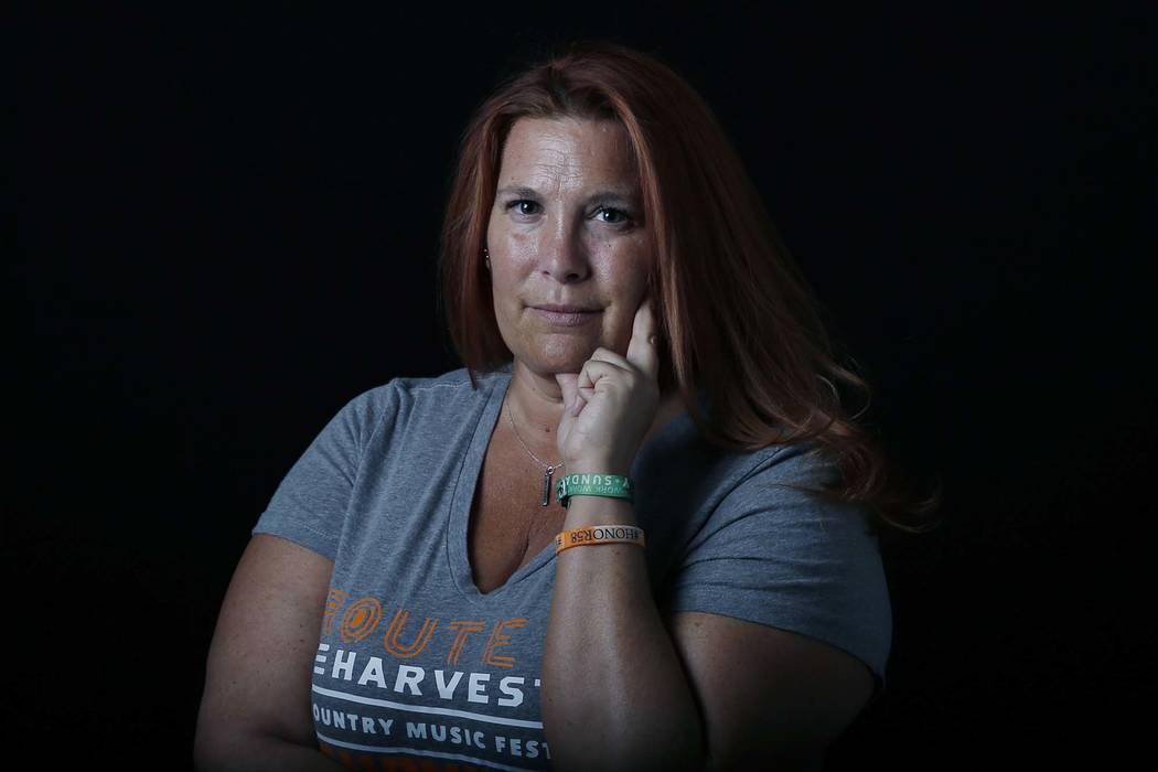 Heather Gooze, a Route 91 Harvest festival shooting survivor, poses for photo at the Las Vegas Review-Journal's studio on Wednesday, Sept. 26, 2018, in Las Vegas. Bizuayehu Tesfaye/Las Vegas Revie ...