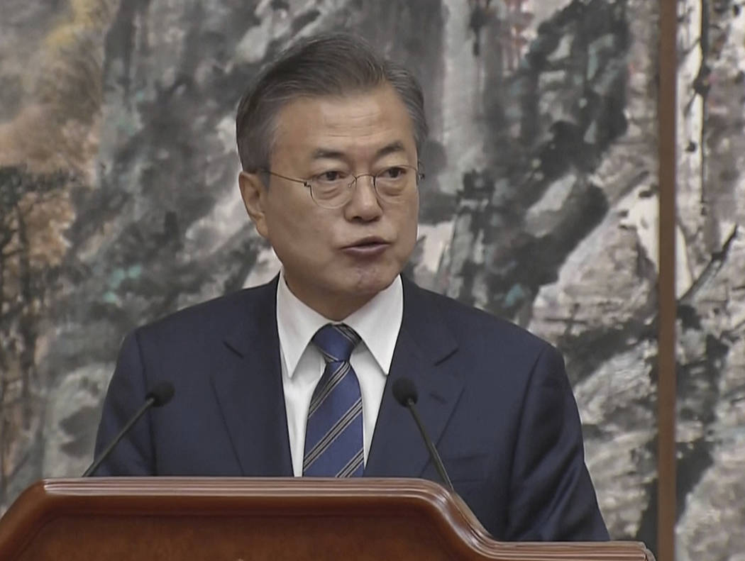 In this image made from video provided by Korea Broadcasting System (KBS), South Korean President Moon Jae-in speaks during a joint press conference with North Korean leader Kim Jong Un in Pyongy ...