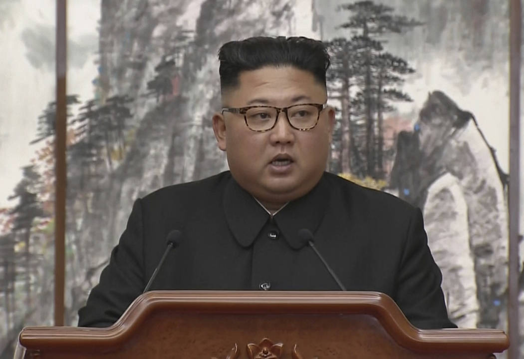 In this image made from video provided by Korea Broadcasting System (KBS), North Korean leader Kim Jong Un speaks during a joint press conference with South Korean President Moon Jae-in in Pyongy ...