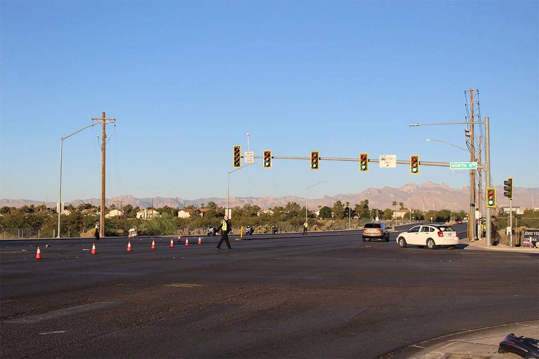 North Las Vegas police are investigating a crash at East Craig Road and North 5th Street that left at least one person dead Wednesday, Sept. 19, 2018. (Max Michor/Las Vegas Review-Journal)