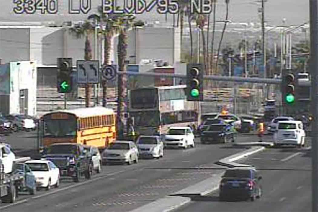 No injuries were reported in a crash involving a Clark County School District bus and another vehicle at Bonanza Road and Las Vegas Boulevard North, Wednesday, Sept. 19, 2018. (RTC Fast Cameras)