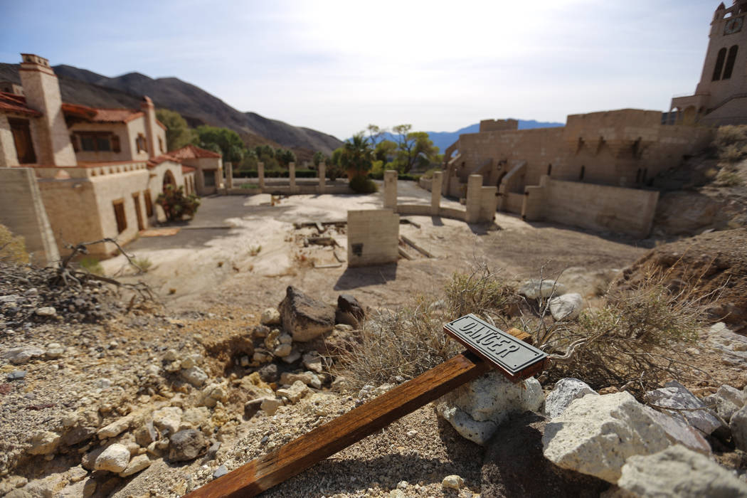 Journalists are taken on a tour to view the flooding damage done to Scotty's Castle in Death Valley National Park on Saturday, Oct. 24, 2015. On Oct. 18, 2.7 inches of rain fell in Grapevine Canyo ...