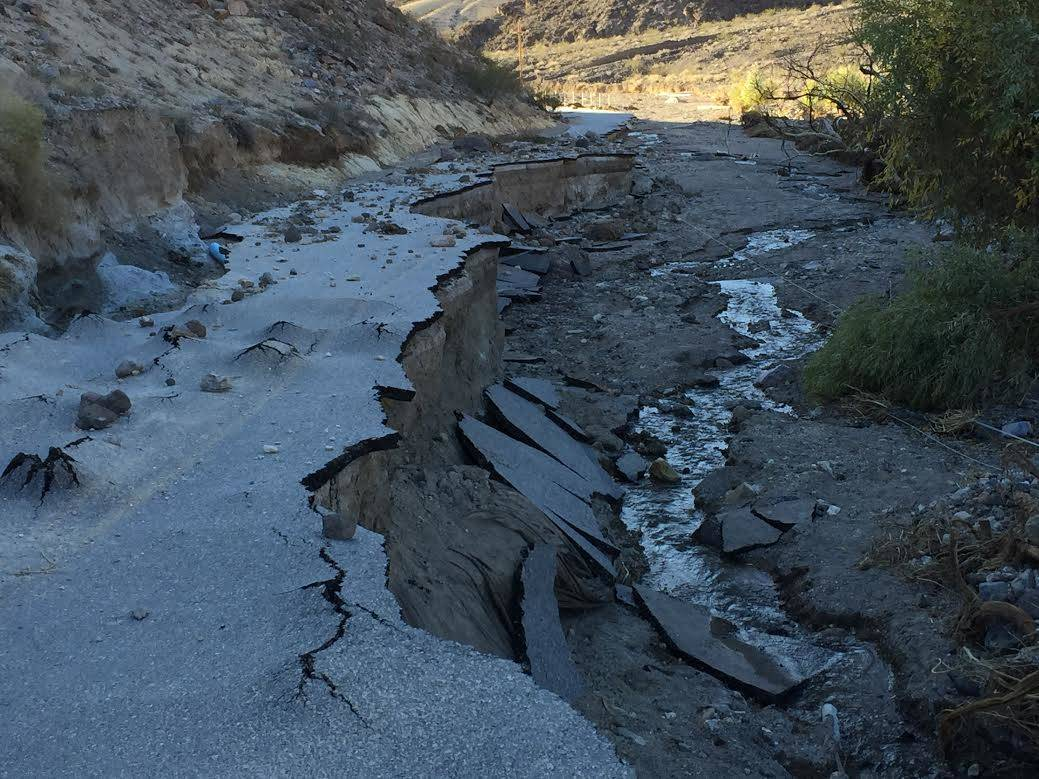 Scotty's Castle Road in Death Valley National Park as it looked in November after a historic flood. Park officials say the road looks pretty much the same today. (National Park Service)