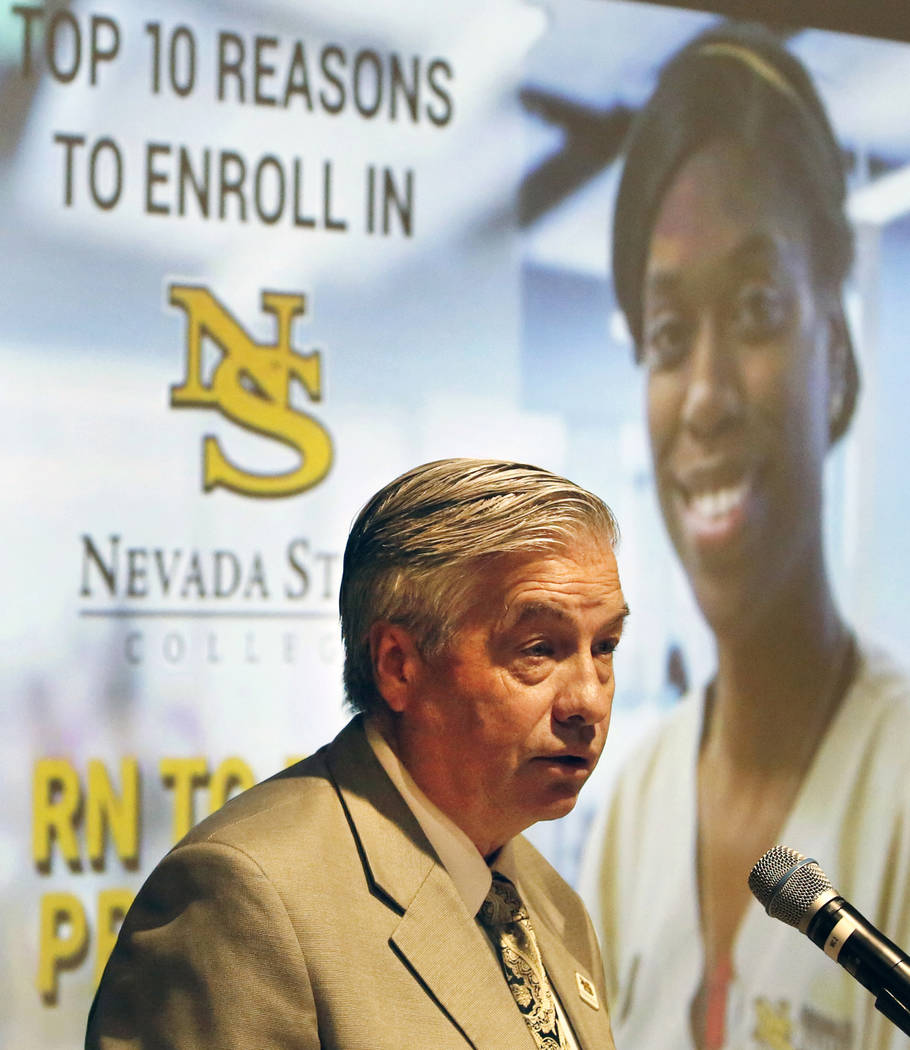 Nevada State College President Bart Patterson delivers the State of the College address on Tuesday, Sept. 18, 2018, in Henderson. (Bizuayehu Tesfaye/Las Vegas Review-Journal) @bizutesfaye