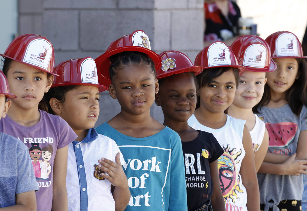Second grade students at Lynch Elementary School lined up to attend a fire prevention and safety event on Thursday, Sept. 20, 2018, in Las Vegas. (Bizuayehu Tesfaye/Las Vegas Review-Journal) @bizu ...