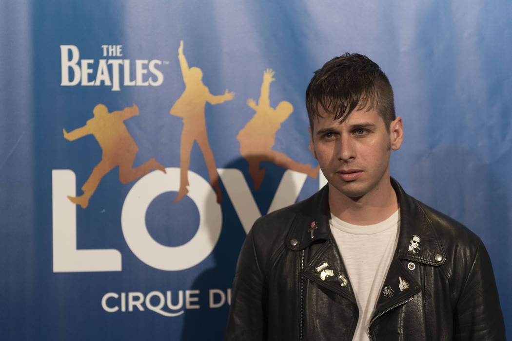 Musician, Mark Foster, founding member of Foster The People, poses during a red carpet event to celebrate the 10th anniversary of Cirque du Soleil's The Beatles LOVE at The Mirage hotel-casino in ...