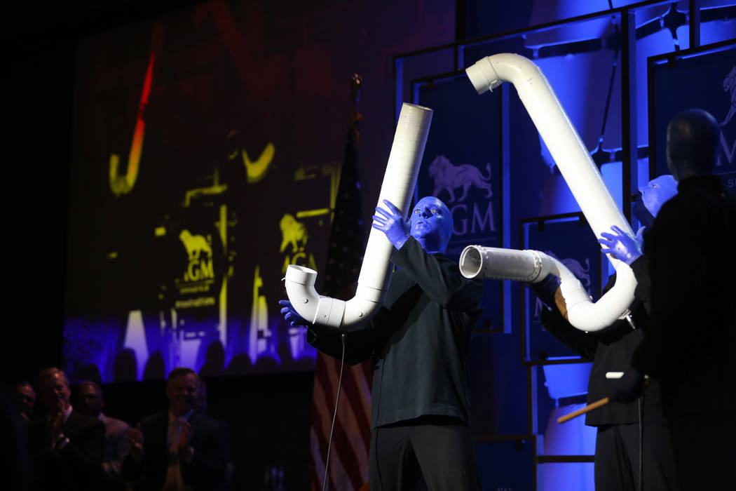 The Blue Man Group performs during media day for the new MGM Springfield $960 million casino in Massachusetts Thursday, Aug. 23, 2018. The casino opens Friday. K.M. Cannon Las Vegas Review-Journal ...
