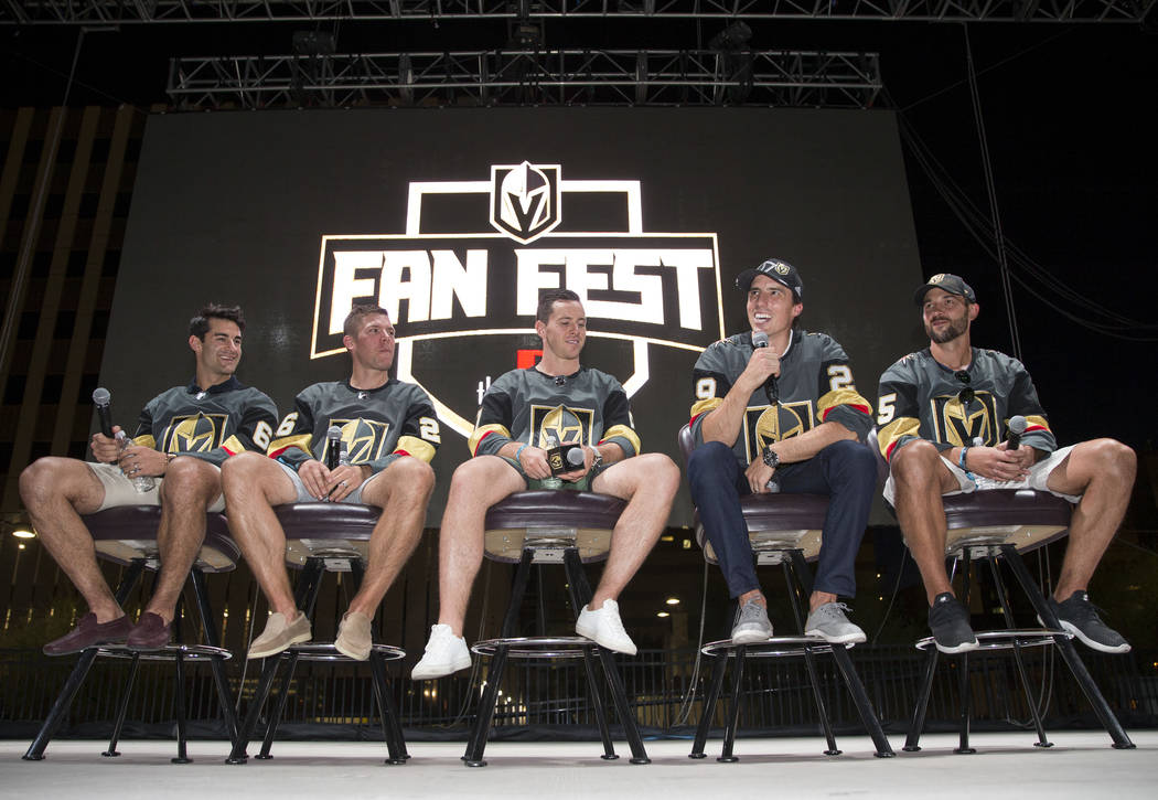 Vegas Golden Knights players, from left, Max Pacioretty, Paul Stastny, Jonathan Marchessault, Marc-Andre Fleury and Deryk Engelland take part in a Q&A during a Vegas Golden Knights fan fest at ...