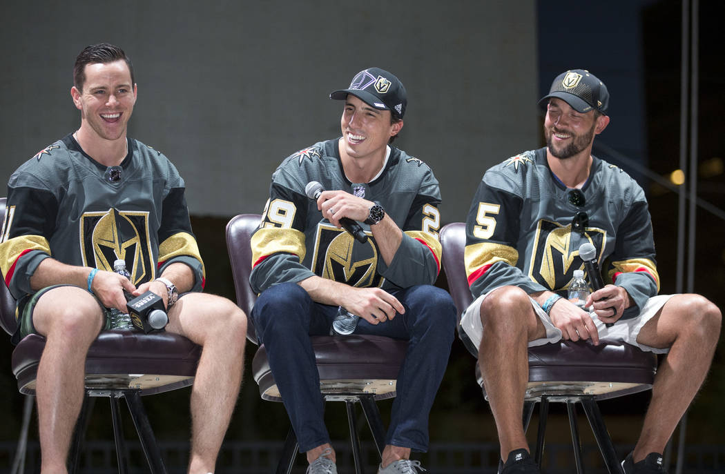 Vegas Golden Knights players, from left, Jonathan Marchessault, Marc-Andre Fleury and Deryk Engelland take part in a Q&A during a Vegas Golden Knights fan fest at the Downtown Las Vegas Events ...