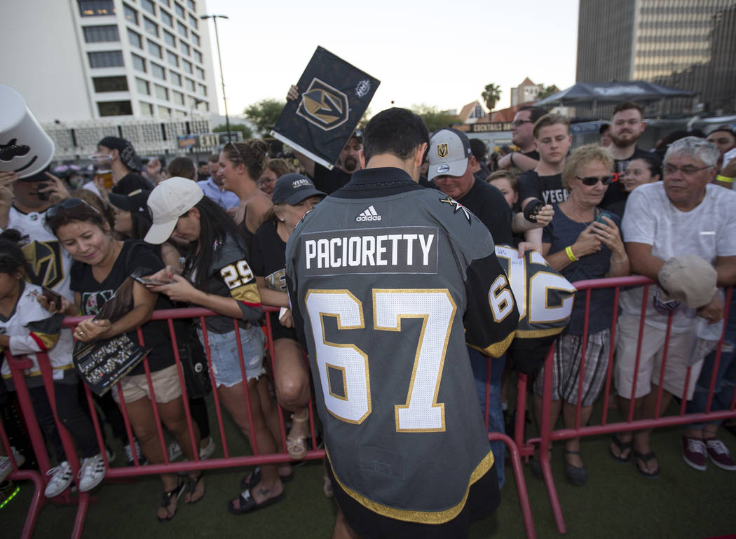 Vegas Golden Knights left wing Max Pacioretty (67) signs autographs during a Vegas Golden Knights fan fest at the Downtown Las Vegas Events Center on Wednesday, Sept. 19, 2018. Richard Brian Las V ...