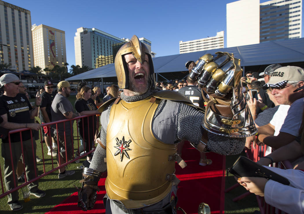 The Golden Knight greets fans during a Vegas Golden Knights fan fest at the Downtown Las Vegas Events Center on Wednesday, Sept. 19, 2018. Richard Brian Las Vegas Review-Journal @vegasphotograph